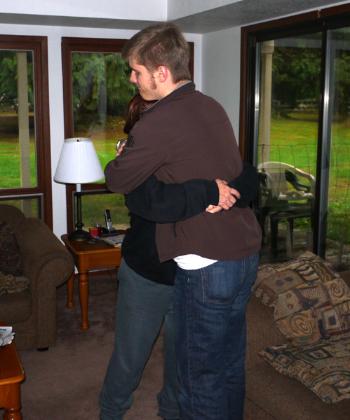 Chris gets a big hug from his mom as he departs home for his sophomore year at college.