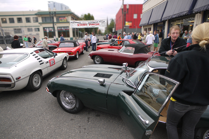 At the start in Portland. John & Olivia Morrow in their 1966 E-type FHC.