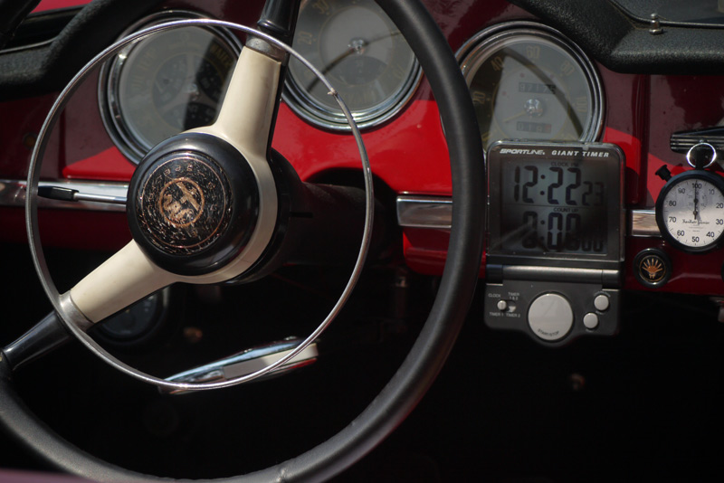 All  Business inside this little Alfa. Alan Chockie & Toni Slavich's  1958 Alfa Romeo Giullietta Spider.