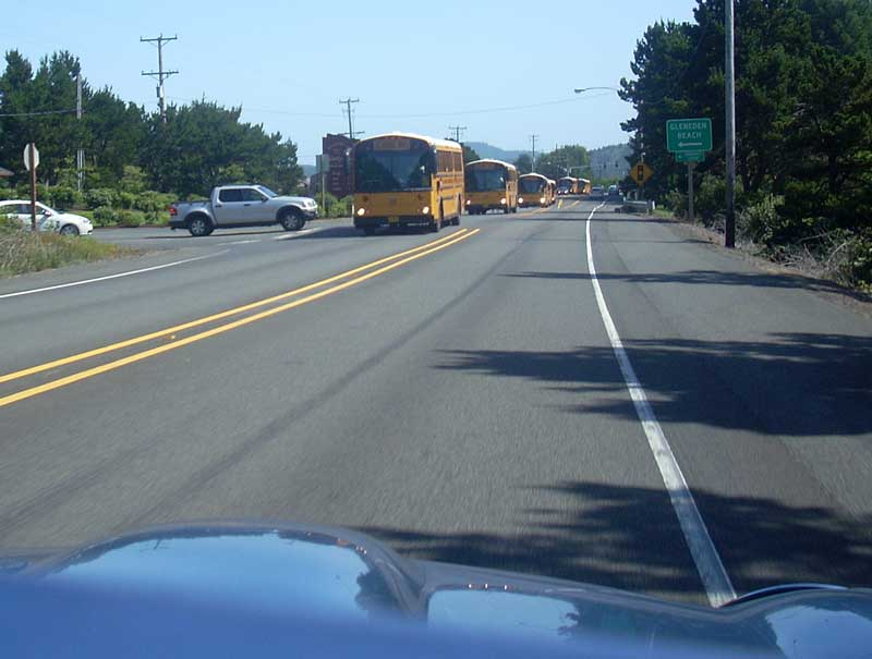 An odd parade of school buses we saw in Lincoln City, Oregon.