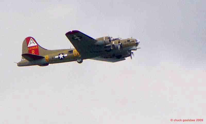 12. B-17 leaving Boeing Field in Seattle.