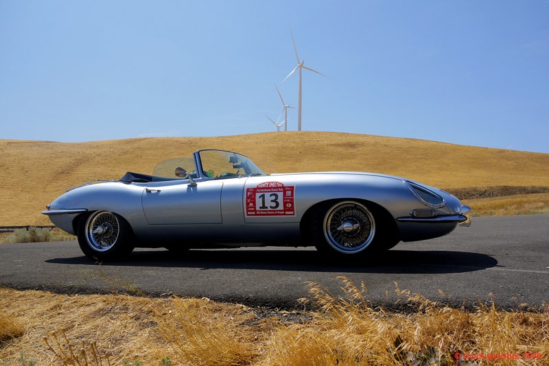 13. E-type Jaguar and Turbines, Columbia Gorge, Washington.