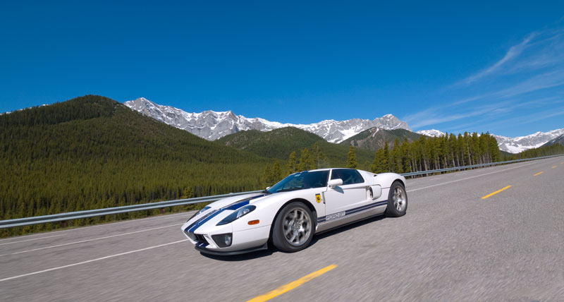 Ford GT under Blue Skies and the Canadian Rockies.