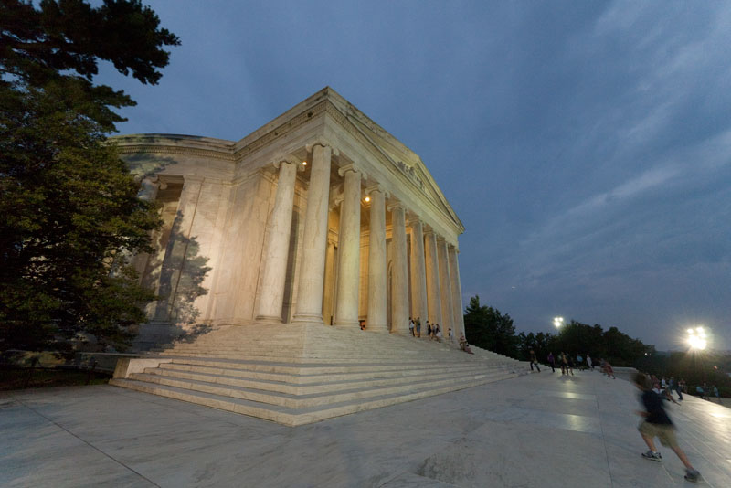 Outside the Jefferson Memorial at twilight.