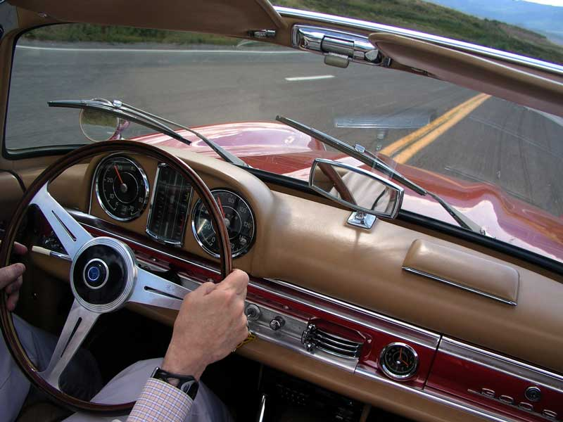 The dashboard of a roadster