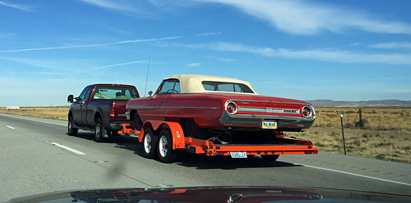 Ford Galaxie spotted under tow in Southern Idaho