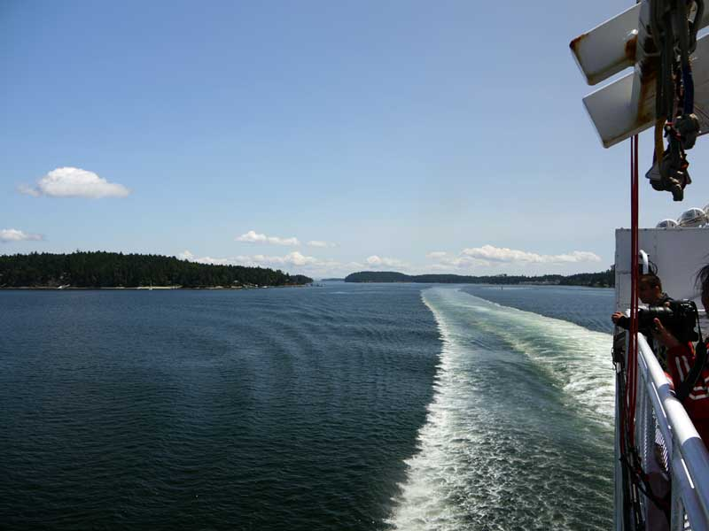 Leaving Swartz Bay. Portland Island on the left, Vancouver Island on the right