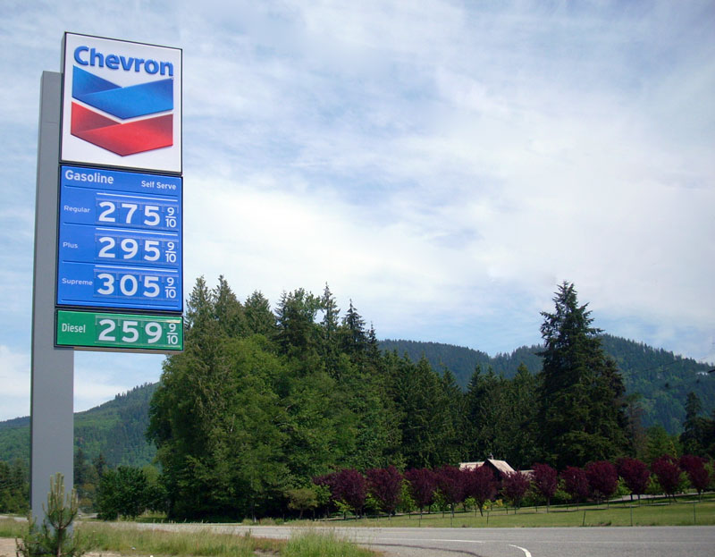 Above: Fuel Prices in Trafton, WA on June 1st, 2009.