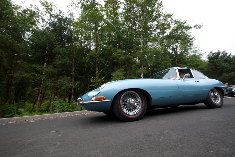 Car #12, a 1968 E-type FHC rolls to the start.