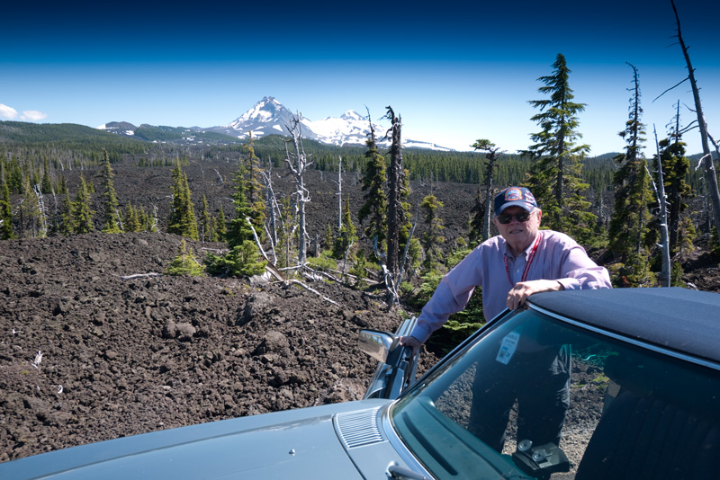 Dad at the summit of the McKenzie Highway.