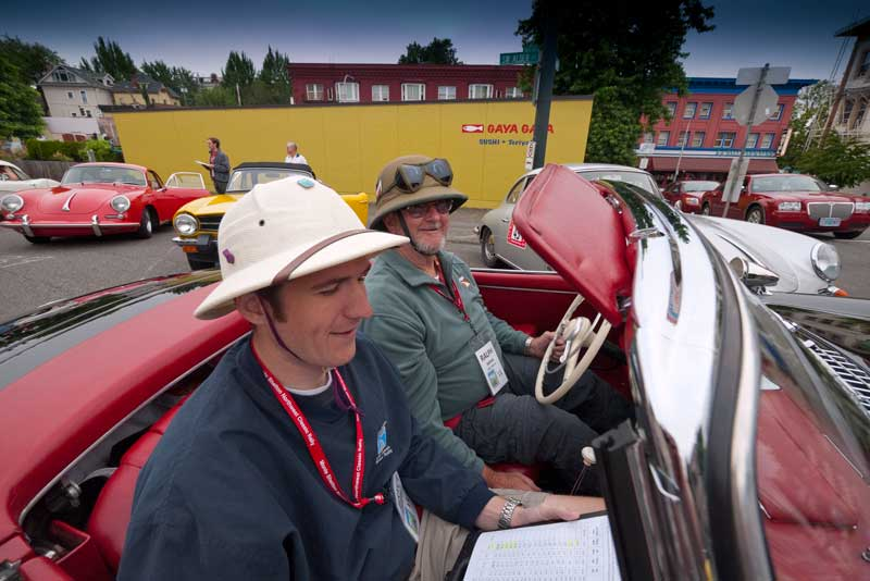 The Pith Helmuts  of Ralph Inman and Bryce Cameron in Ralph's '57 300sl.