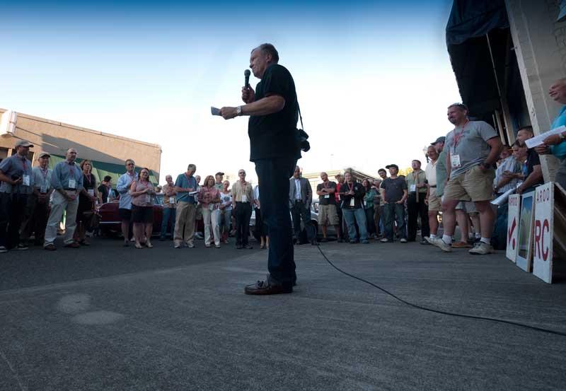 Rally Chairman Reid Trummel addresses the assembled crowd.
