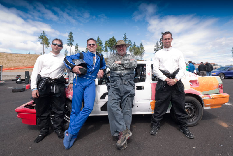 Team Family Ties Drivers, L-R: John Verd, Trevor Shand (Team Captain), Yours Truly (in my mechanic's overalls), and John Davenport.