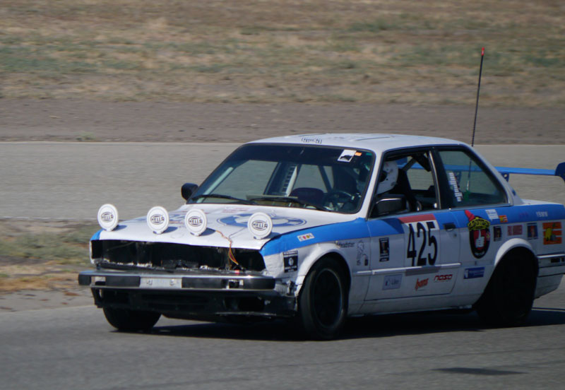The Clowncar on the Pit Straight at Buttonwillow.