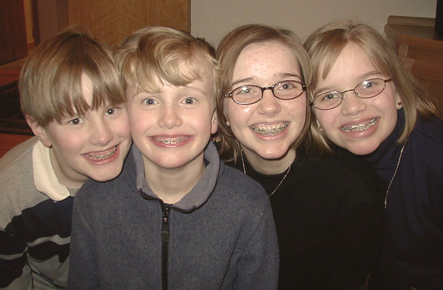 L—R: Christopher, Nicholas, Lauren, & Caroline in winter 2003.