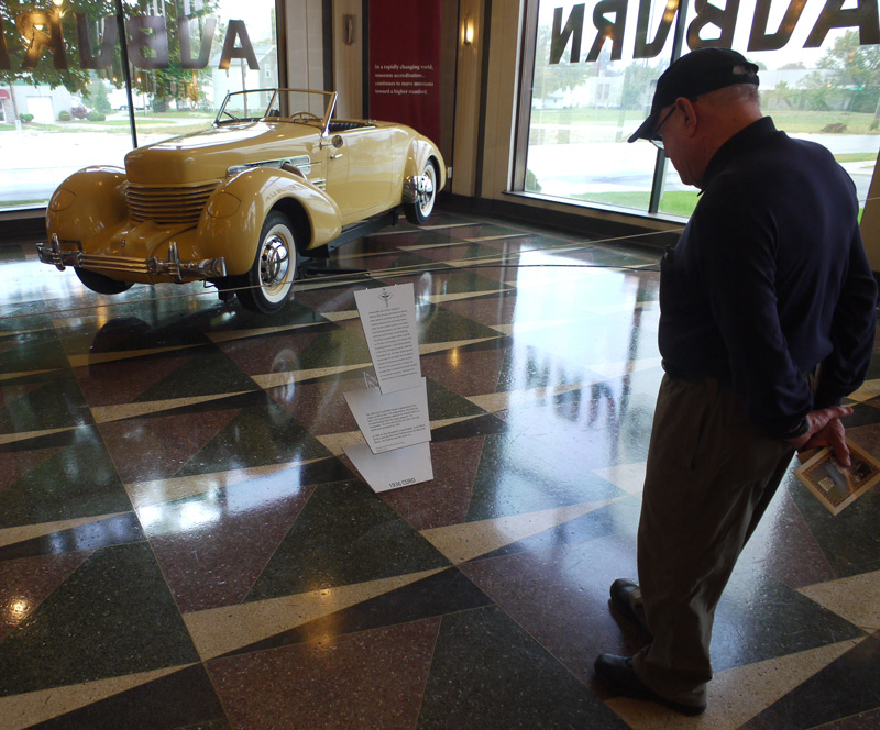 Above: Dad admiring a rotating Cord on display.