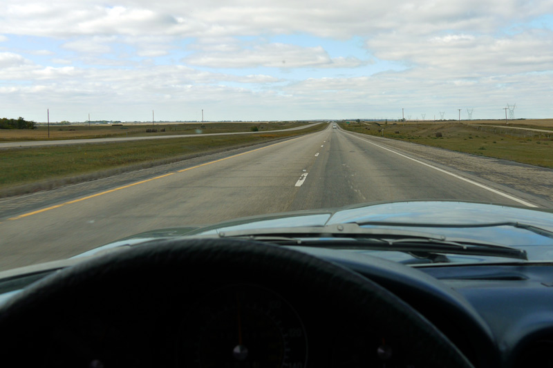 Above: Wide open Interstate in rural North Dakota.