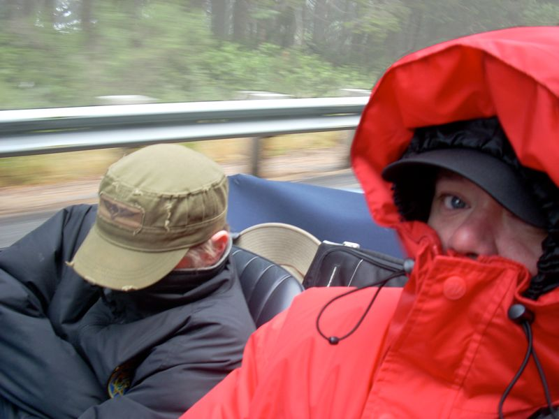Chris & I, freezing in the 65E on the Oregon Coast, Father-Son Roadtrip, 009