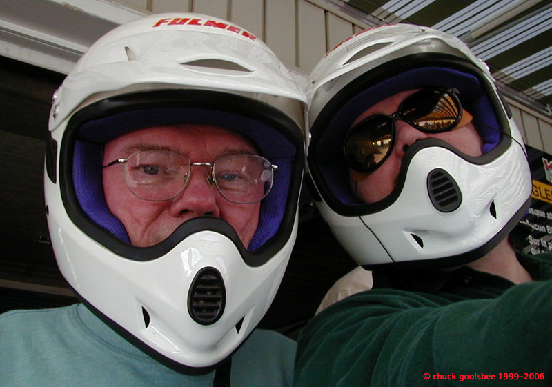 Ready to hit the track with Dad, 2002