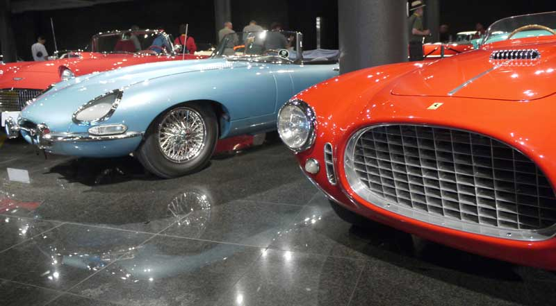 A 1963 OSB OTS E-type, sitting between a T-bird and Phil Hill's first Ferrari.