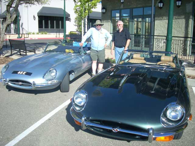 Meeting fellow E-type owner David Shield in El Dorado Hills, California. David's pristine S2 OTS on the right.