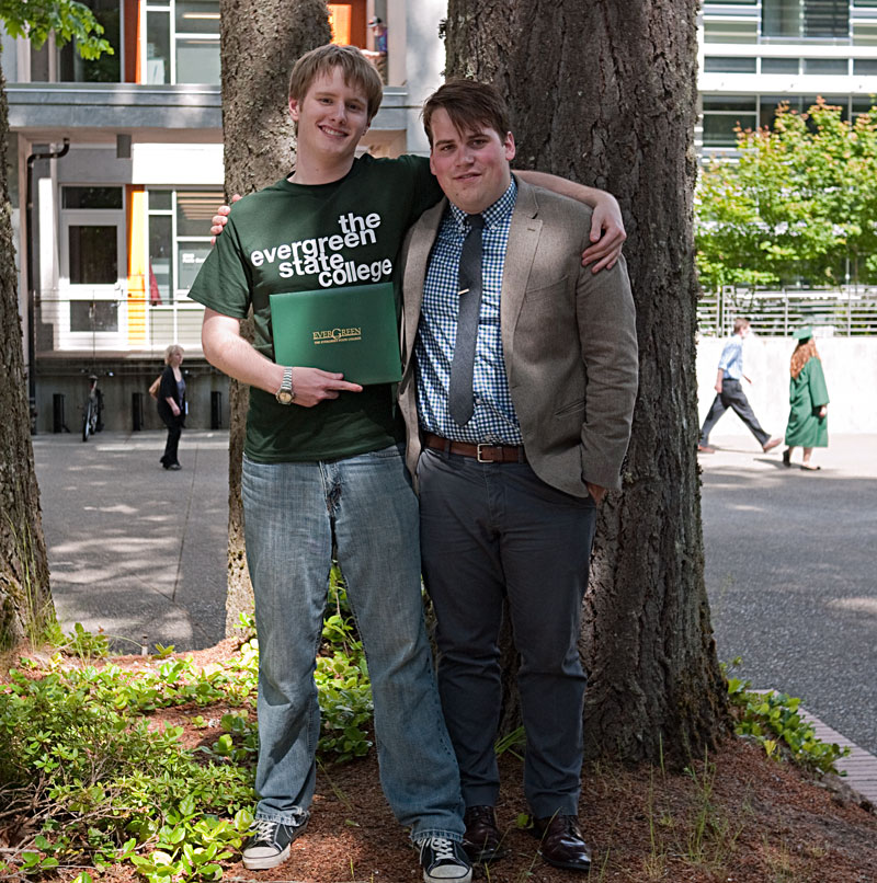 With his life-long friend Robert Peiffle, who also just graduated from the UW in Seattle.