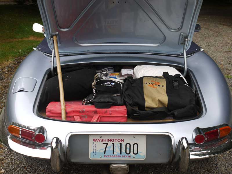 All of our stuff, plus spares, in the E-Type boot,