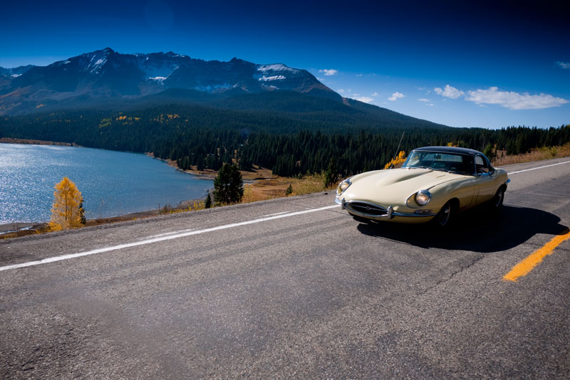 Mike Goodwin's S1.5 in front of Trout Lake and San Miguel Peak.