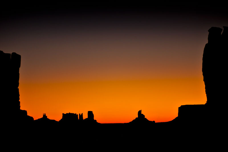 Dawn at Monument Valley from the campground at Gouldings.