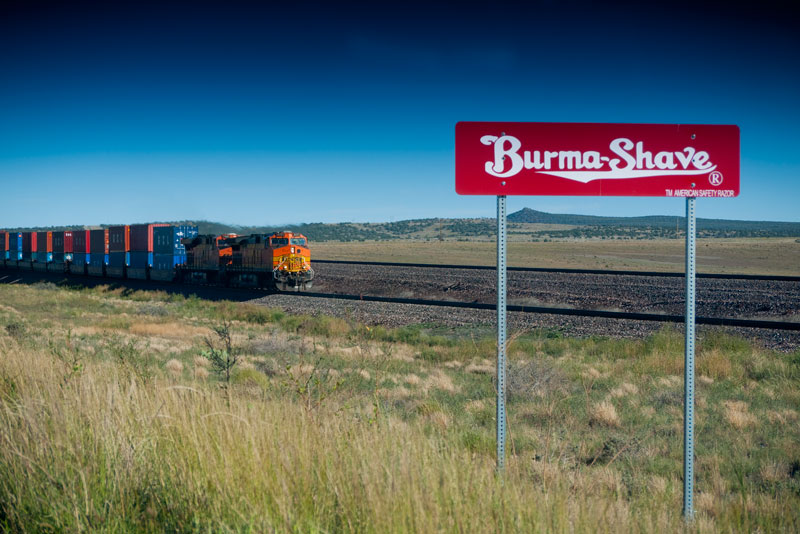 Route 66 still sports old Burma Shave signs.