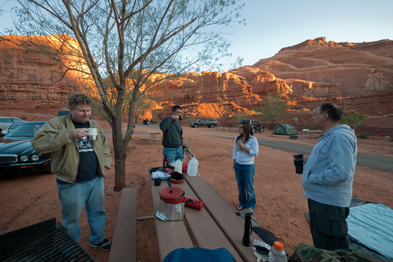 My fellow campers finally getting their morning coffee: Larry Wade, Larry's nephew Travis, Dianne Meboe, and Mike Goodwin.