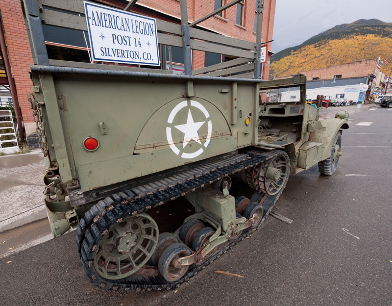 A halftrack parked on the street in Silverton.