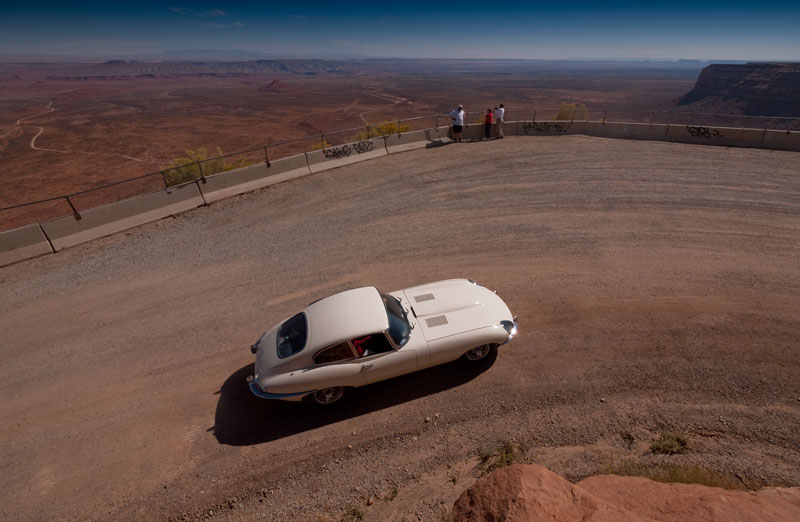 Jerry's Jag on a switchback of Moki Dugway