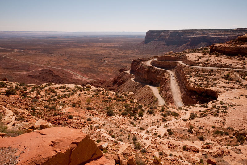 Moki Dugway. Three Jags from the tour can be seen in the middle of the switch-backs.