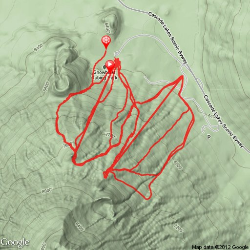 terrain map of our ski day