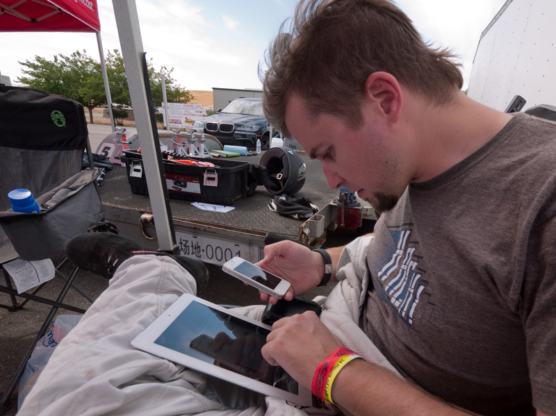 Matt preps our in-car telemetry system, which uses an iPhone, and the pit side, which is an iPad.